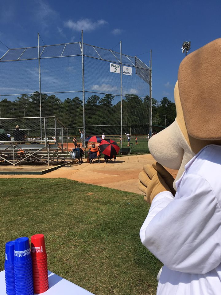MainStreet Family Urgent Care Mascot at the Creektown Ball Park