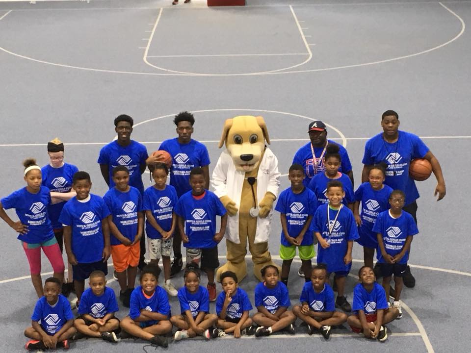 MainStreet Mascot July at basketball camp for boys and girls club in eufaula