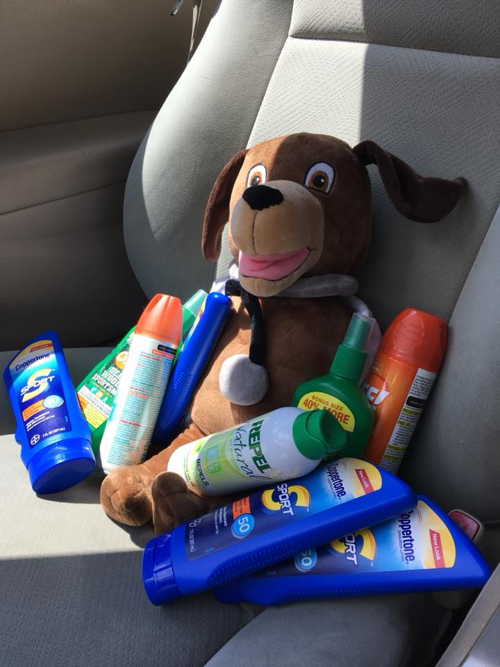 July Sunscreen Dr. Wags delivers sunscreen bug spay mainstreet urgent care mascot